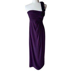 Ruffled One Shoulder Long Gown Empire Waist Dress